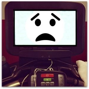 Treadmill with a sad face display