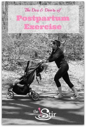 Photo of mom with stroller and text 'Dos and Donts of Postpartum Exercise'