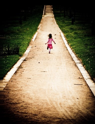 child running outside
