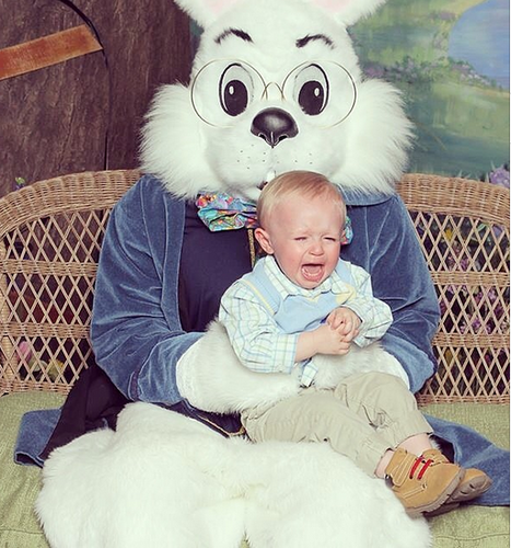 baby crying Easter Bunny