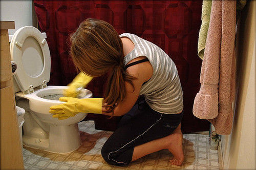 mom cleaning toilet