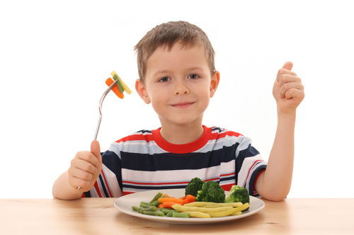 kid eating a plate of vegetables