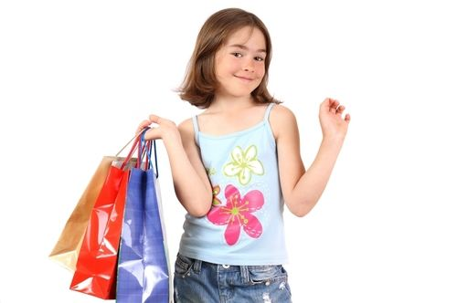 a little girl shopping