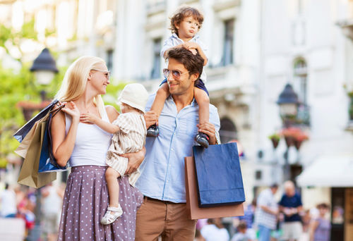 family of 4 out shopping
