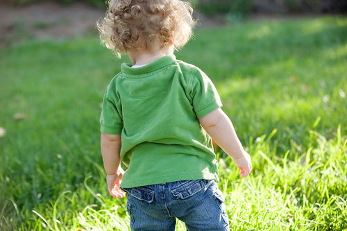 little boy walking