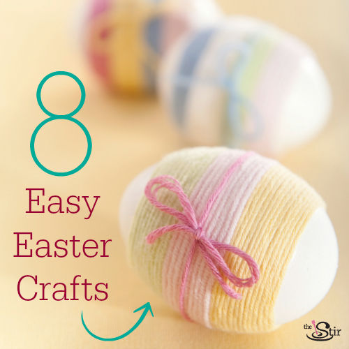 yarn wrapped eggs for Easter
