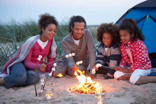 family camping marshmallows campfire tent