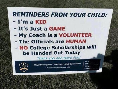 Youth soccer sign sends strong message to parents