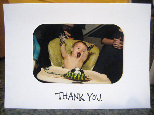 thank you note first birthday party