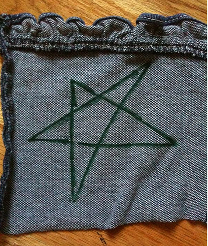 Star drawn on fabric