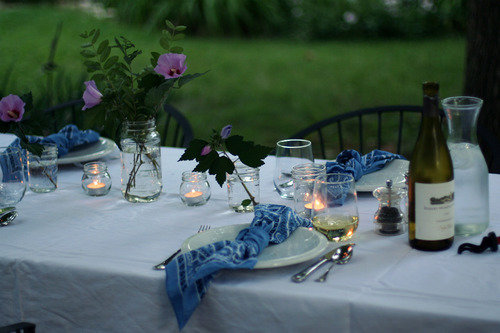 table outdoors backyard candlelight