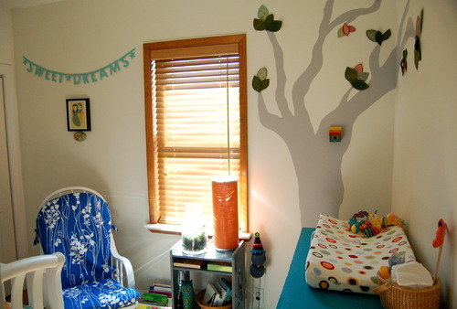 nursery crib tree mural wall baby room