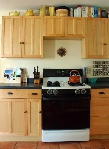 stove and cupboards