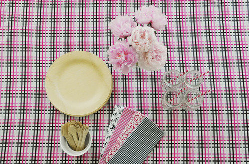 plaid tablecloth table setting