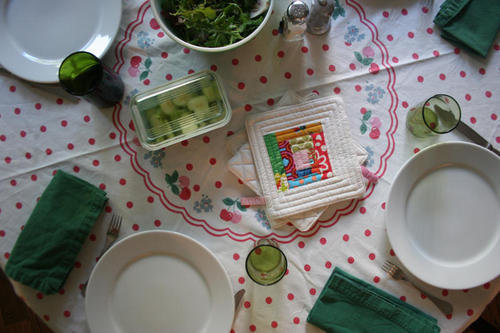 vintage tablecloth dinner table meal