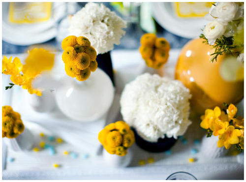yellow white flowers centerpiece
