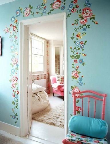 blue room painted flower wall
