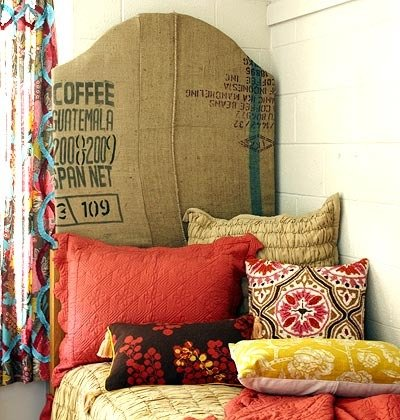 burlap DIY headboard bed dorm room