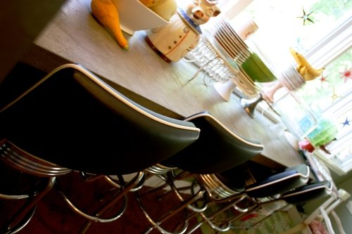 Kitchen bar dishes barstools