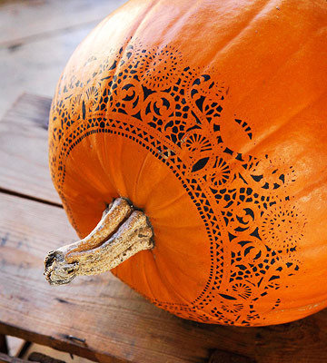doily stenciled pumpkin