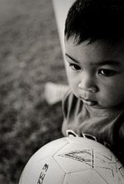baby and soccer ball