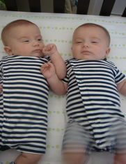 twins in stripes