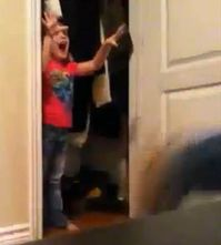 kid jumping out of closet