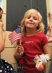 girl with amerian flag