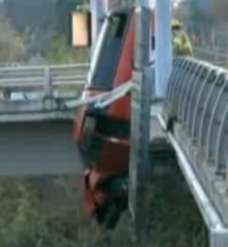 driver dangles from overpass