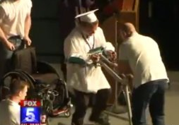 paralyzed teen walking at graduation