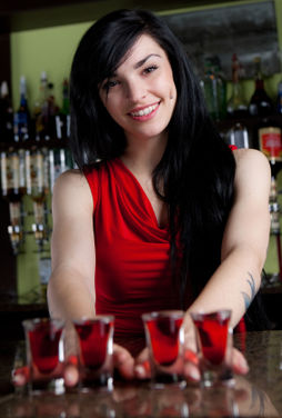 waitress wearing red