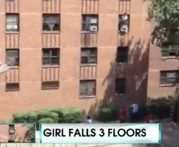 girl falls 3 floors