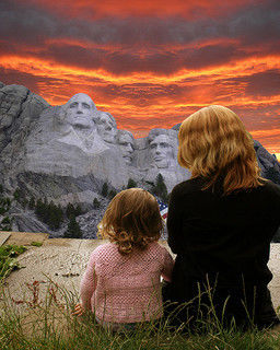mother & child at mt rushmore photo