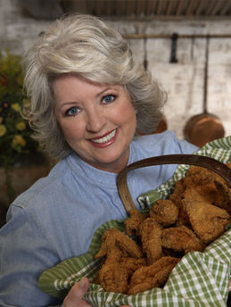 paula deen holding fried chicken