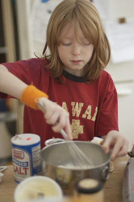boy cooking recipe baking