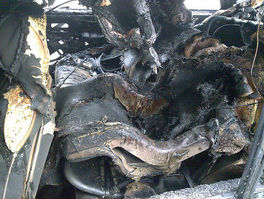 burned out car seat