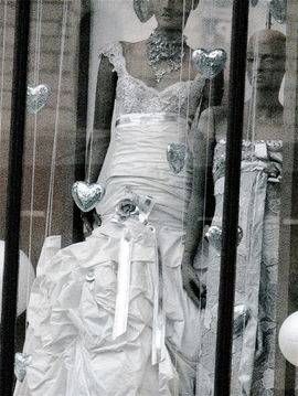 bridal gowns in shop window