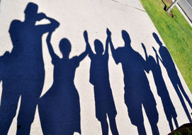 family in shadow