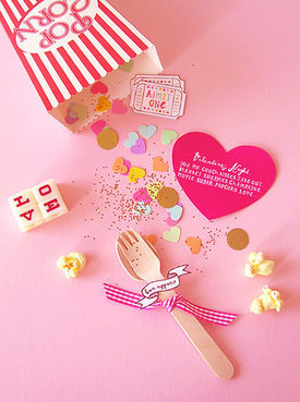 popcorn invitation Valentine's Day