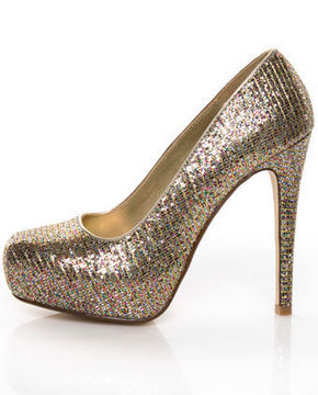 my delicious shiro gold glitter multi sparkle pumps