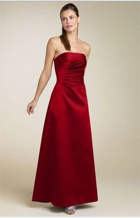 red satin strapless dress