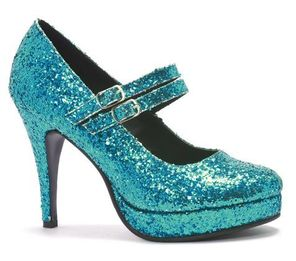 blue turquoise glitter pumps mary janes heels