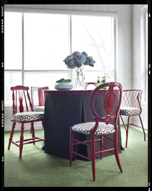 mismatched chairs painted red