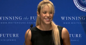 shakira at white house press event