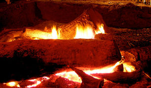 yule log burning