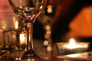 wine glasses candles date night