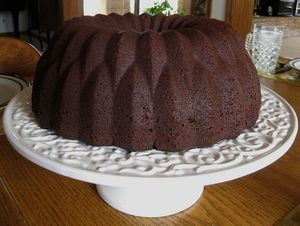 chocolate bundt cake with bourbon sauce