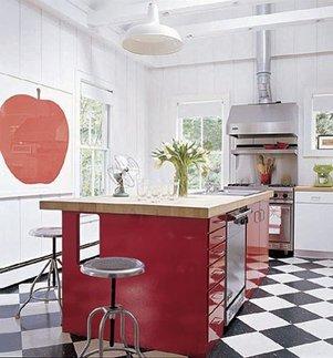 red kitchen Sarah Jessica Parker
