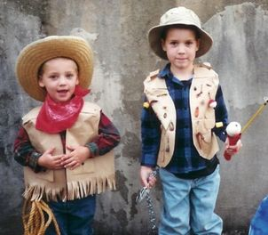 paper bag costumes cowboy fisherman