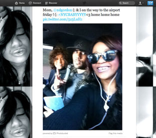 bobbi kristina's twitter photo of nick gordon and whitney houston